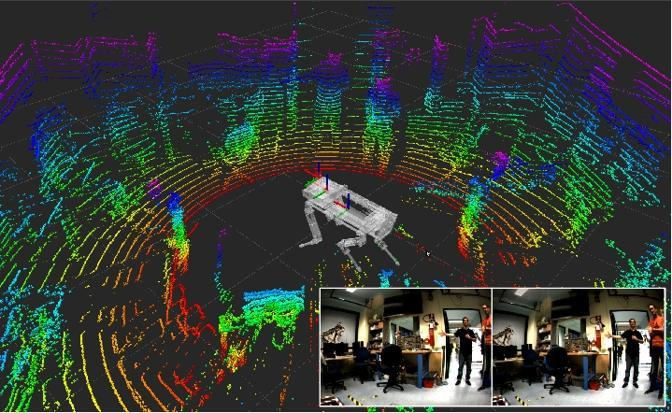 Immagine computerizzata di come HyQ percepisce l'ambiente esterno. In futuro per aumentare l'autonomia potrebbe montare un motore a scoppio ecologico