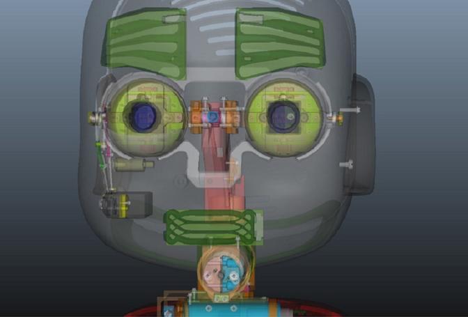 La faccia di iCub è realizzata in grafica 3D. Il progetto usa programmi open sofware