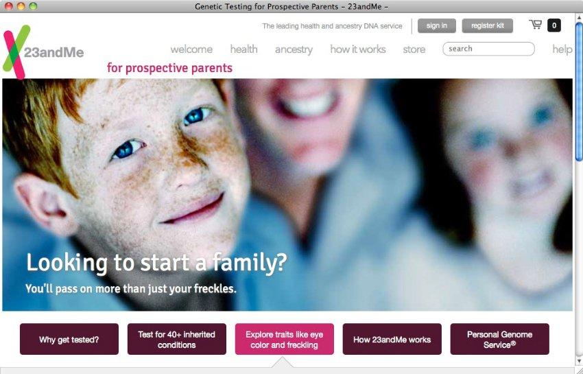 Il sito della societ� 23andme