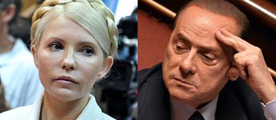 L'ex premier ucraina Yulia Tymoshenko e Silvio Berlusconi (Afp/Ansa)