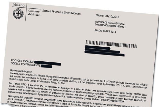 La lettera spedita ai contribuenti milanesi