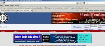 Schermata del sito neonazista Stormfront