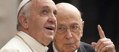 Papa Francesco e Giorgio Napolitano al Quirinale
