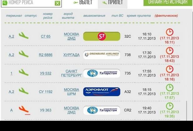 Screenshot del sito Kazan.aero che indica, in basso a sinistra, lo schianto del volo U9 363della Tatarstan. L'aereo proveniente da Mosca era atteso alle 19.40