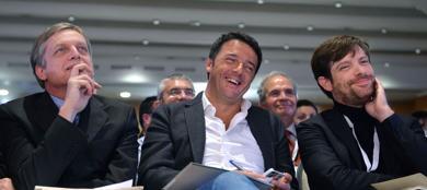 Gianni Cuperlo, Matteo Renzi, Pippo Civati (Imagoeconomica)