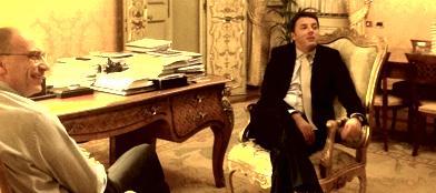 La foto dell'incontro Letta-Renzi twittata da Palazzo Chigi