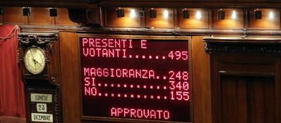 Il tabellone elettronico della Camera con il risultato del voto di fiducia sul d.l. salva Roma, il 23 dicembre