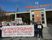 Una manifestazione pro-Stamina davanti all'ospedale di Brescia (Ansa)