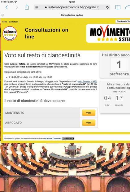 La schermata di votazione
