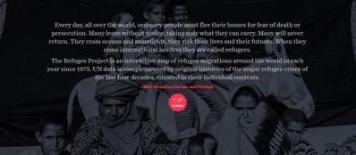La pagina iniziale del sito sui rifugiati