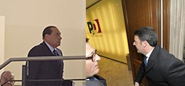 Berlusconi e Renzi, ecco il loro ingresso nella sede Pd di largo del Nazareno