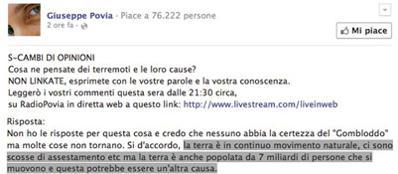 Pòvia su facebook spiega la sua teoria su terremoti