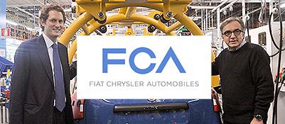 John Elkann e Sergio Marchionne con il nuovo logo Fiat-Chrysler (elaborazione grafica Corriere.it)