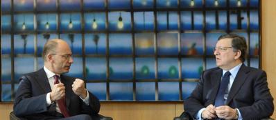 Enrico Letta e José Manuel Barroso a colloquio (Ansa)