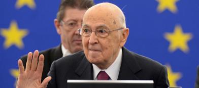Il presidente della Repubblica durante il suo intervento a Strasburgo (Epa/Seeger)