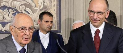 Il presidente Napolitano con il premier  Letta (Ansa)