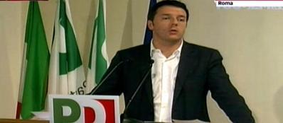 Matteo Renzi durante l'intervento alla direzione Pd