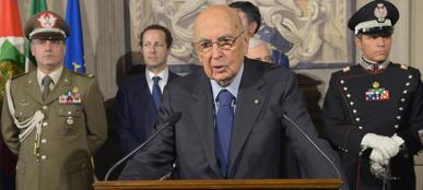 Il presidente Napolitano al termine delle consultazioni