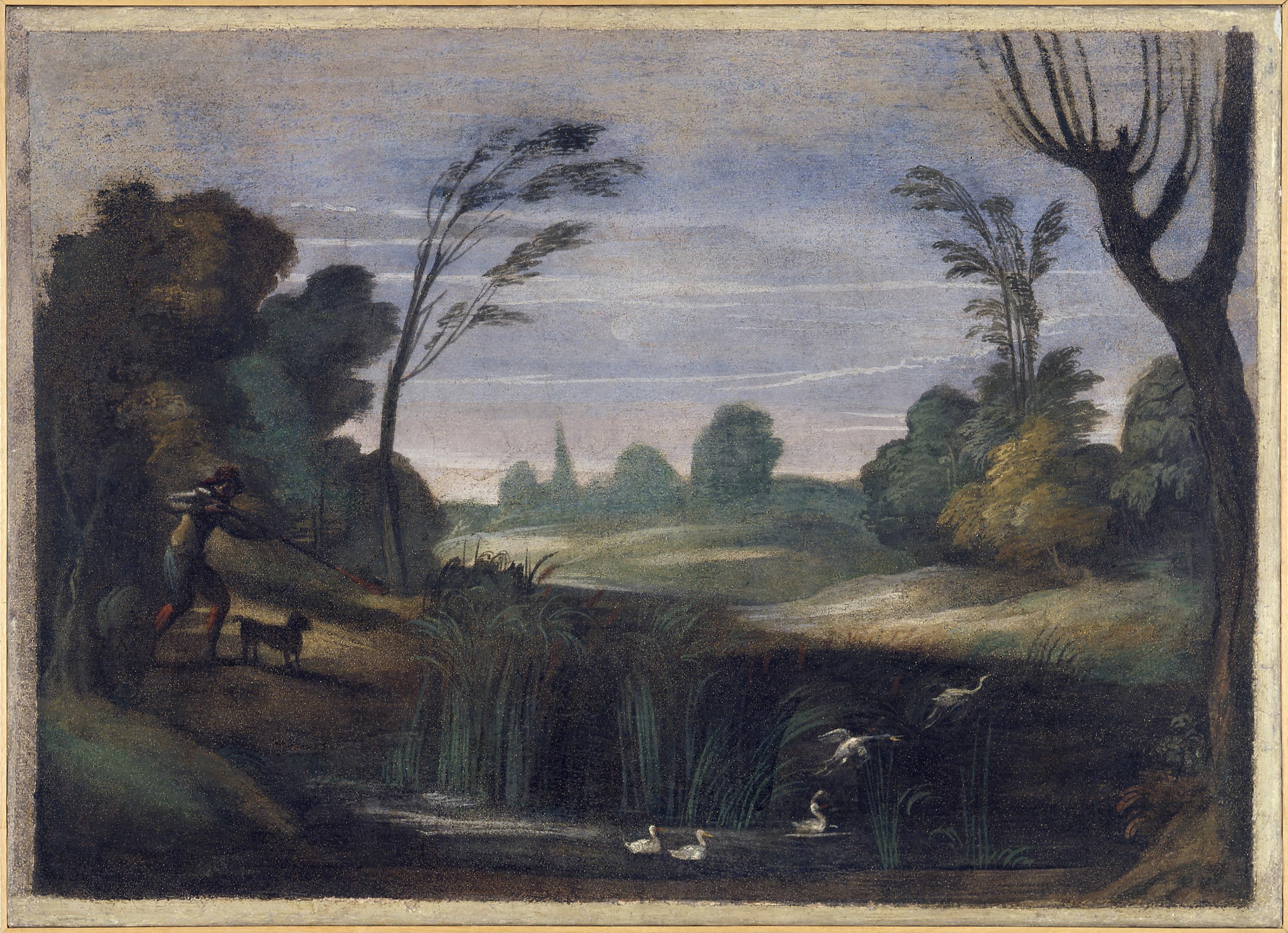 Guercino, «Paesaggio con cacciatore che spara ad anitre»