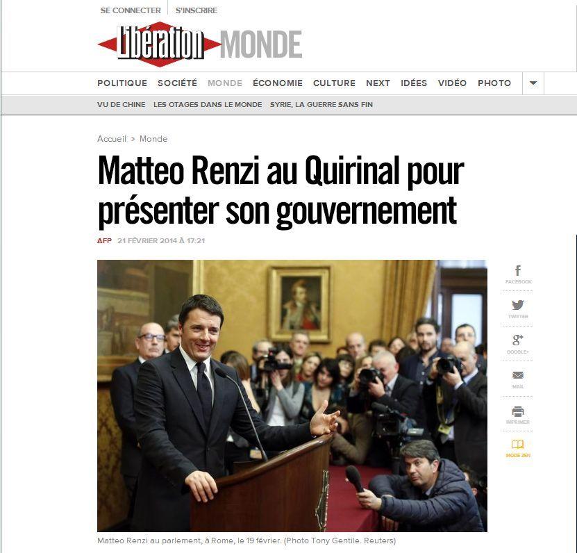 Il governo renzi sui siti stranieri for Sito governo italiano