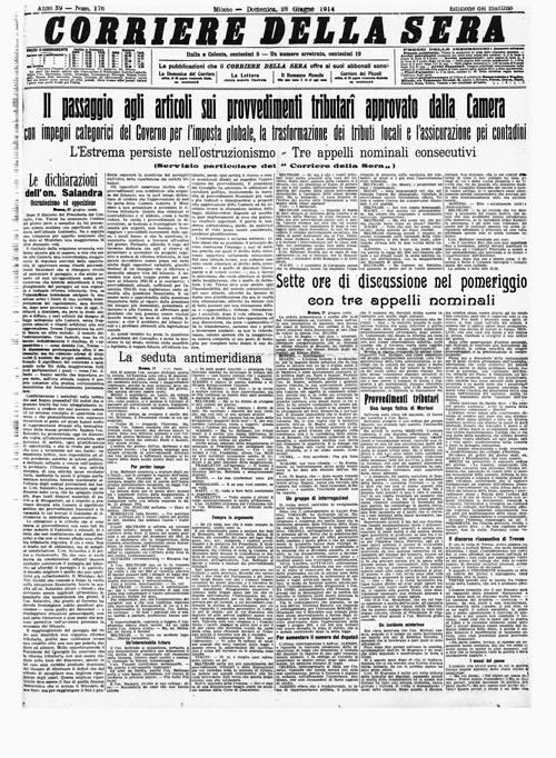 Il corriere 100 anni fa 28 6 8 7 1914 for Corriere della sera casa