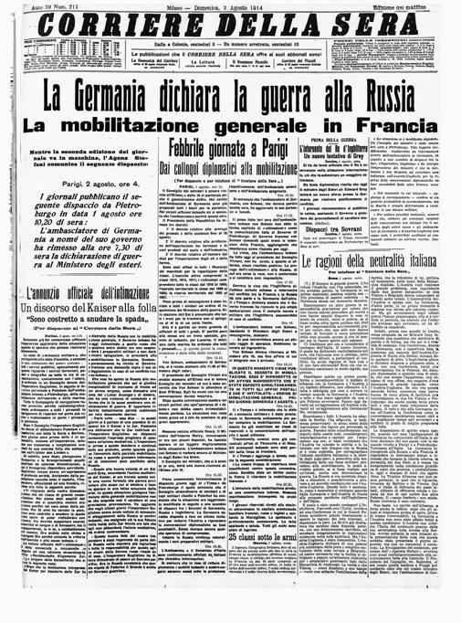 Agosto 1914 scoppia la grande guerra for Corriere della sera casa