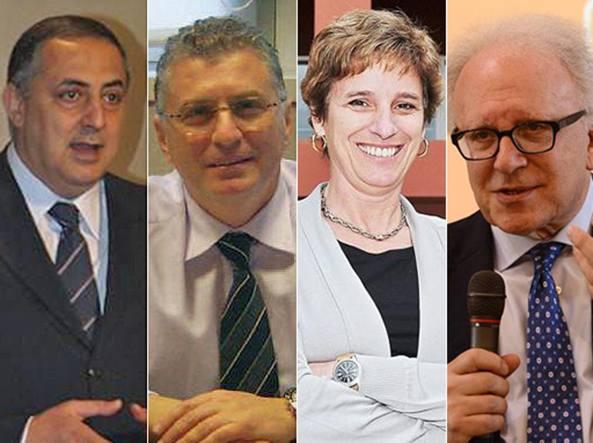 I rettori Massimo Lagalla (Palermo), Giuseppe Novelli (Roma Tor Vergata), Cristina Messa (Milano Bicocca) e Sergio Pecorelli (Brescia)