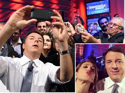 Renzi e il selfie con il pubblico, nel riquadro quello della D'Urso col premier