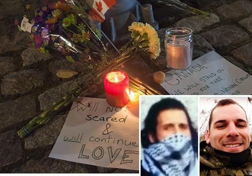 A sinistra l'attentatore e il militare ucciso