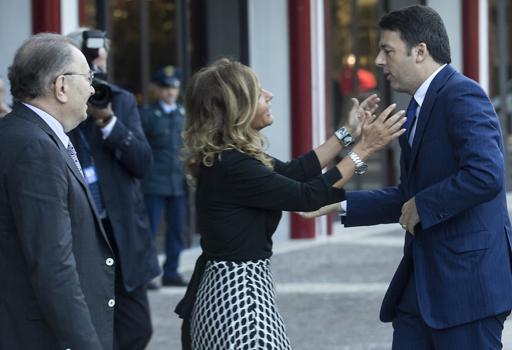 Il premier con Emma Marcegaglia e Giorgio Squinzi