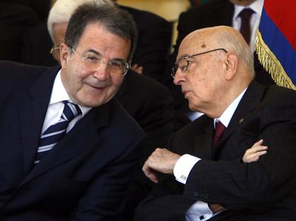 Romano Prodi  e Giorgio Napolitano (Imagoeconomica)