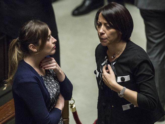 Il ministro Boschi a colloquio con Nunzia De Girolamo (Ncd) per le trattative sul voto a Mattarella