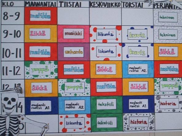 Tabellone orario di una scuola finlandese: presto sarà mandato in soffitta