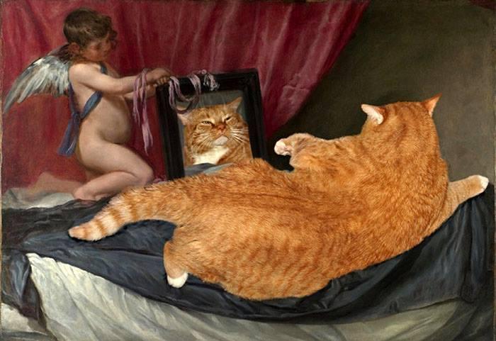 Zarathustra il gatto rosso e grasso nei quadri pi belli della storia - Venere allo specchio ...