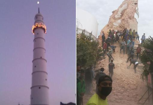La torre Dharahara crollata a Kathmandu