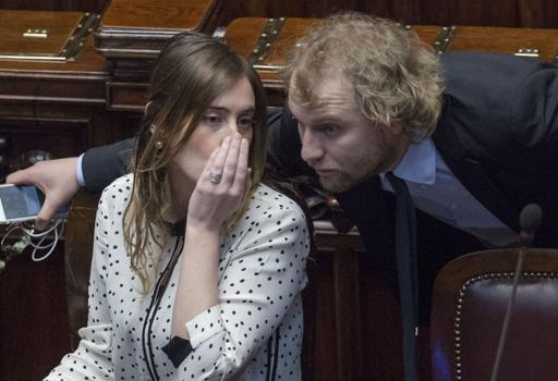 Il ministro delle Riforme, Maria Elena Boschi ,e il braccio destro di Renzi, Luca Lotti (Jpeg)