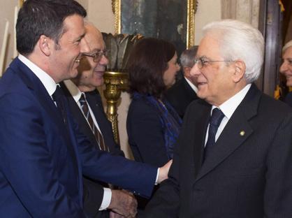 Il premier Matteo Renzi e il presidente della Repubblica Sergio Mattarella
