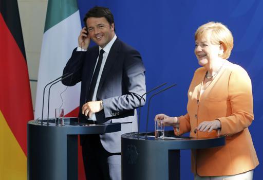 La conferenza stampa congiunta di Matteo Renzi e Angela Merkel  a Berlino