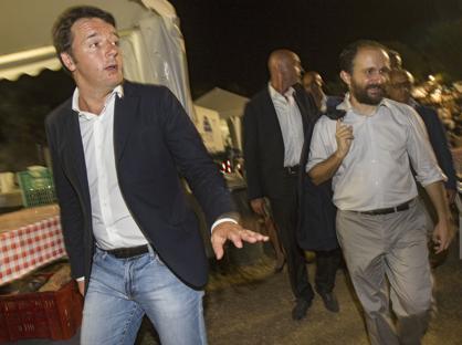Matteo Renzi e Matteo Orfini alla festa dell'Unit� (Benvegn� e Guaitoli)