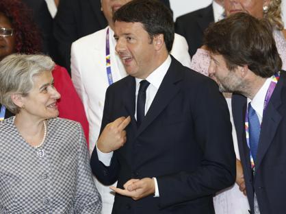 Renzi, il ministro Franceschini e la dg Unesco, Irina Bokova  all'Expo