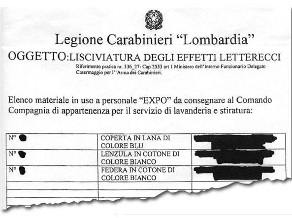 La disposizione per Expo da parte della «Legione Carabinieri Lombardia»