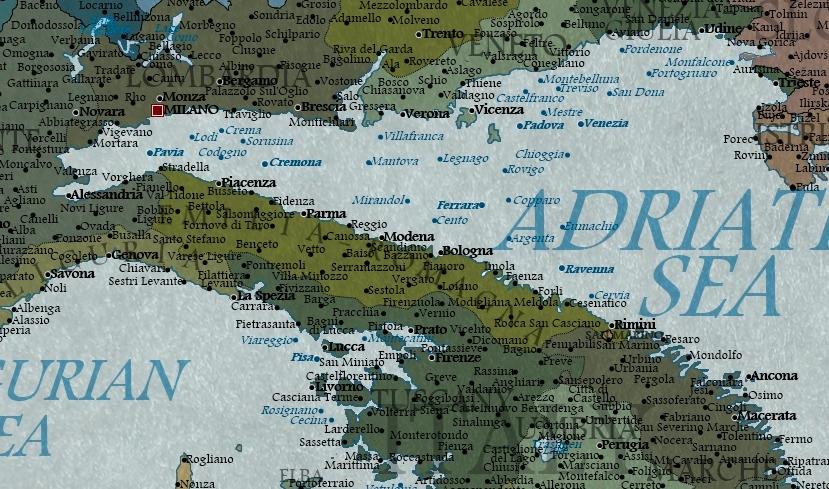 La mappa dell italia nel 2100 - Regioni italiane non bagnate dal mare ...