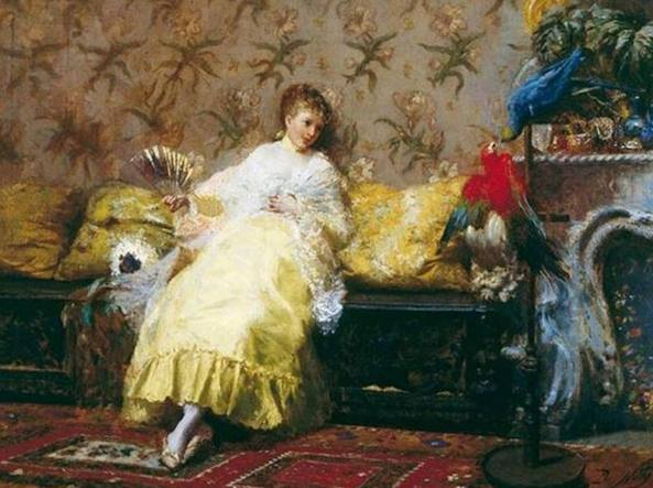 Giuseppe De Nittis, «La signora dei pappagalli», 1869