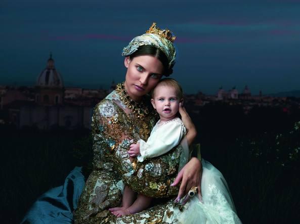 Balti e la figlia Mia  (Maki Galimberti, abiti e gioielli Dolce & Gabbana Alta Moda)