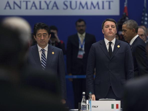 Il premier Matteo Renzi al G20 di Antalya, in Turchia (Ansa)