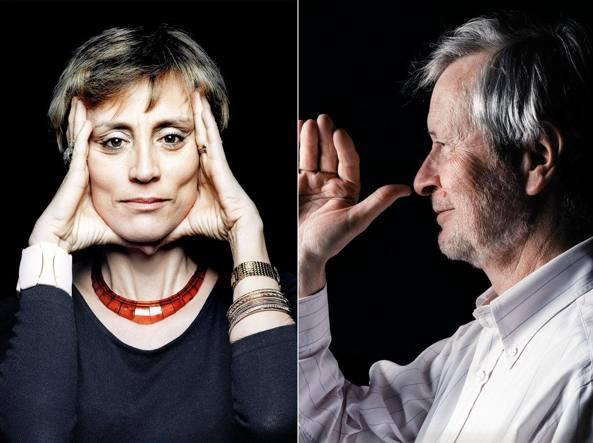 I filosofi Roberta De Monticelli (a sinistra) e  Gianni Vattimo (a destra) ritratti da Armando Rotoletti