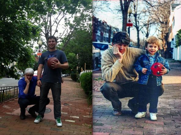 Beppe Severgnini e il figlio Antonio a Washington nel 2015 e nel 1995