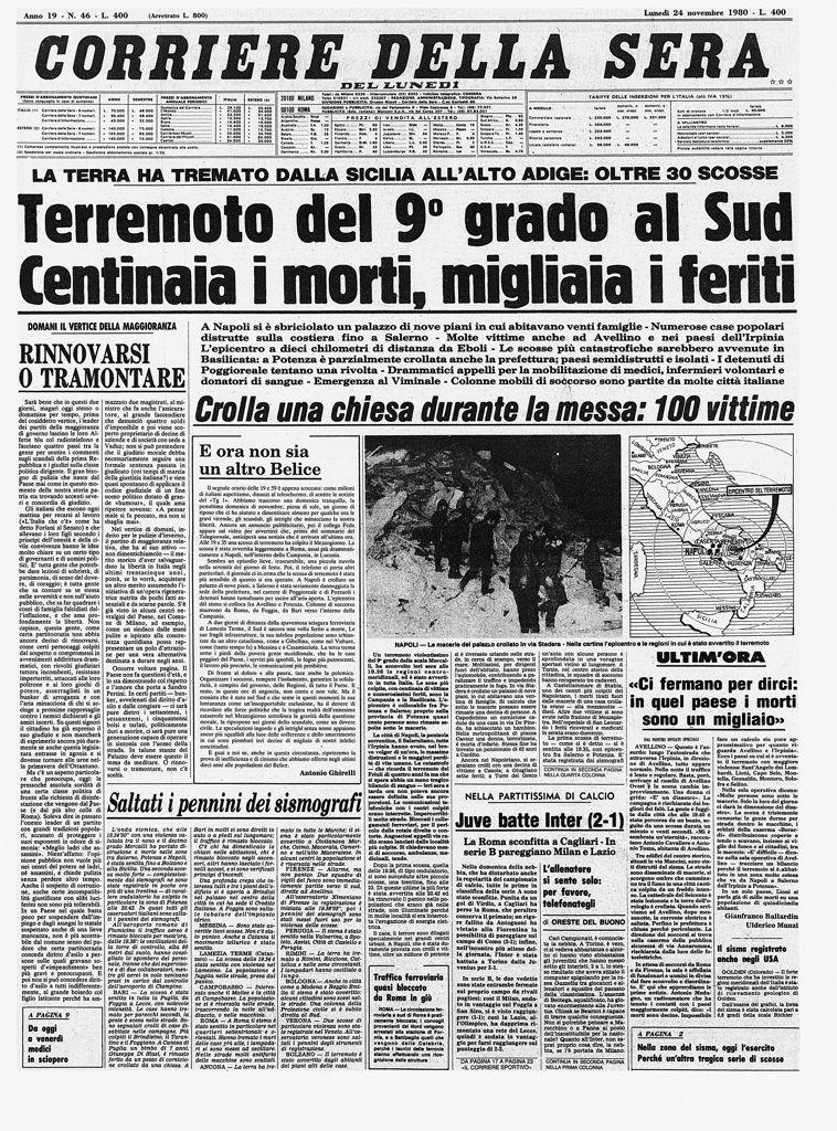 Terremoto irpinia 37 anni fa il tragico sisma for Corriere della sera arredamento