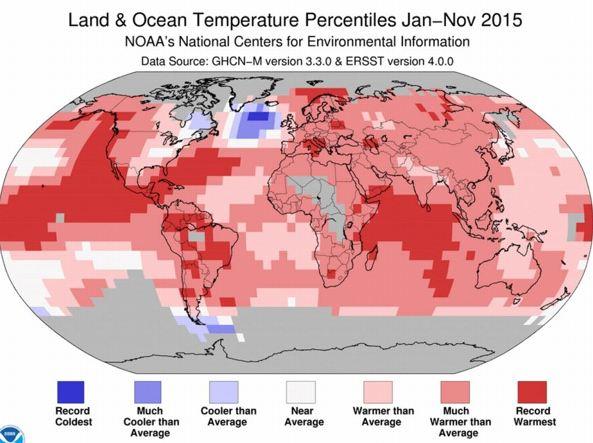 Anomalie di temperatura nei mesi gennaio-novembre 2015 (Noaa)