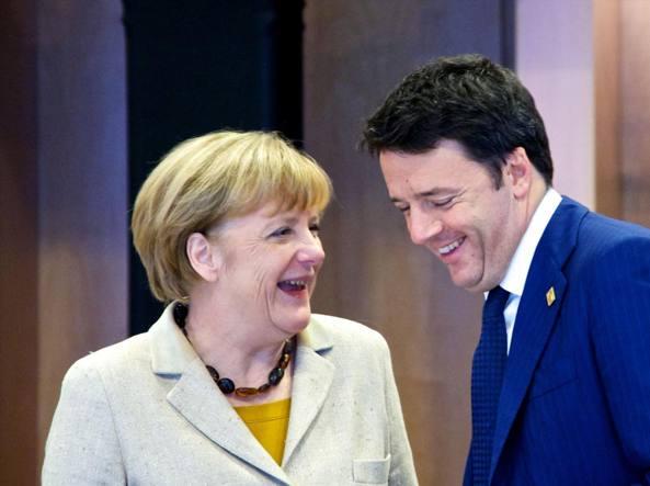 Renzi e Merkel (Imagoeconomica)